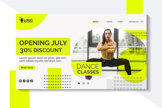 Modello di pagina di destinazione per lezioni di ballo con performer femminile