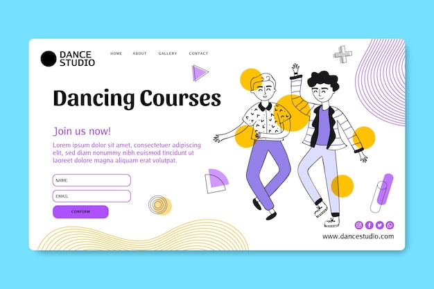 Landing page template for dancing