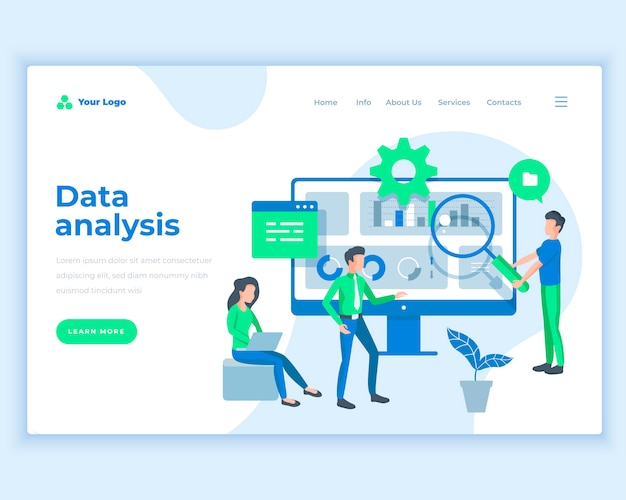 Landing page template data analysis concept with office people.