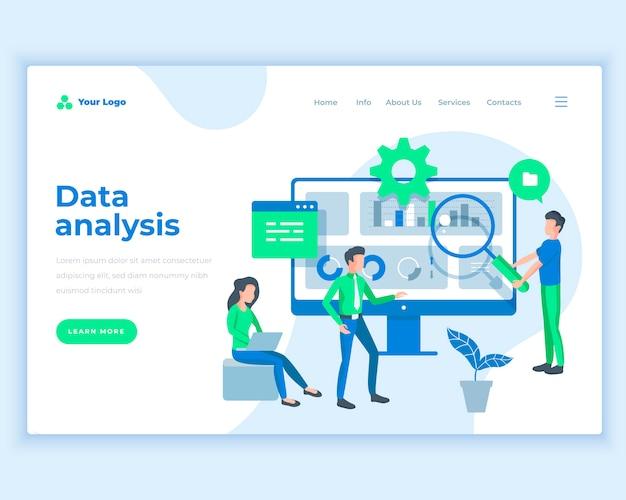 Концепция анализа данных шаблона целевой страницы с людьми офиса.