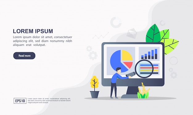 Landing page template. data analysis illustration concept with character.