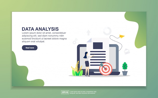 Landing page template of data analysis. modern flat design concept of web page design for website and mobile website.