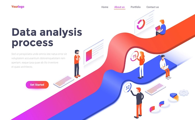 Landing page template of data analysis process in isometry style