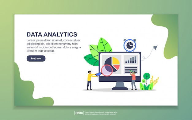 Landing page template of data analytics. modern flat design concept of web page design for website and mobile website