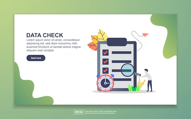 Landing page template of data check
