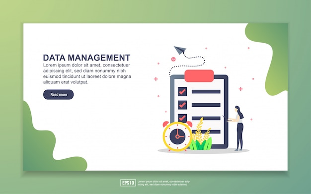 Landing page template of data management. modern flat design concept of web page design for website and mobile website.