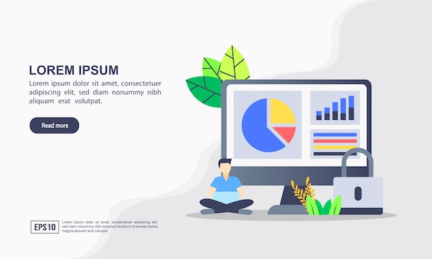 Landing page template. data protection illustration concept with character.