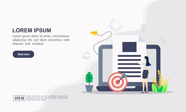 Landing page template. data science illustration concept with character
