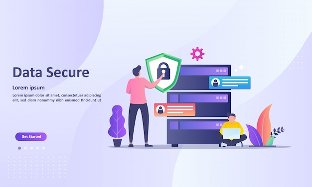 Landing page template of data secure with cloud database