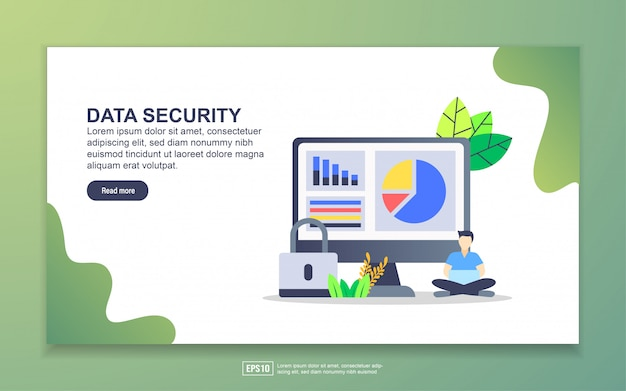 Landing page template of data security. modern flat design concept of web page design for website and mobile website.