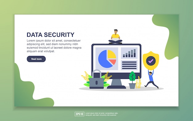 Landing page template of data security. modern flat design concept of web page design for website and mobile website