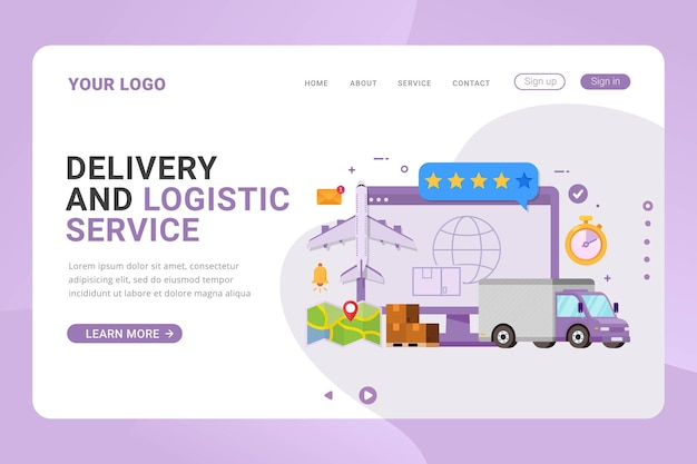 Landing page template delivery and logistic service global design concept