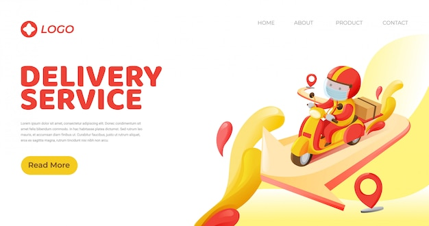 Landing page template of delivery man carrying box to destination from pick up spot riding motorcycle in red and yellow color scheme
