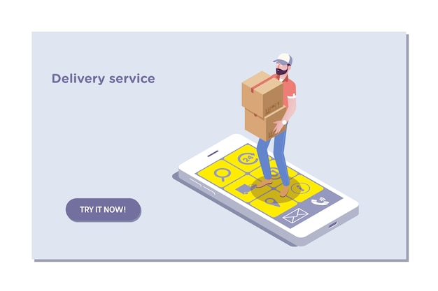 Landing page template of delivery service and e-commerce.