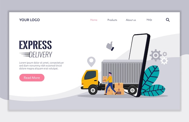Landing page template of delivery service with trucking concept. courier character carrying box package to deliver to customer.