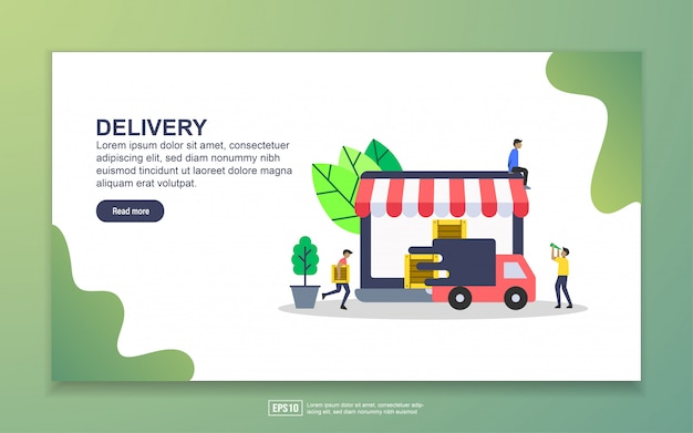 Landing page template of delivery