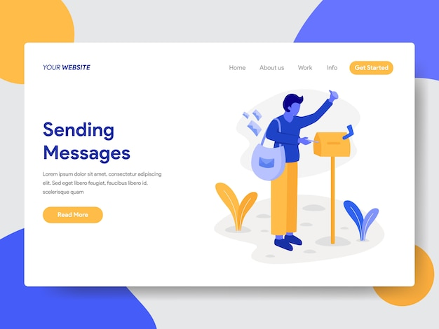 Landing page template of deliveryman with mailbox illustration concept