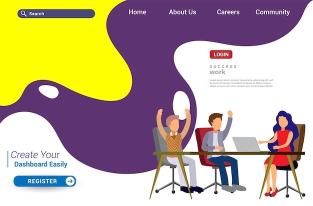Дизайн шаблона целевой страницы концепции совместной работы. современная плоская концепция дизайна веб-страницы для веб-сайта и мобильного веб-сайта. легко редактировать и настраивать. векторная иллюстрация