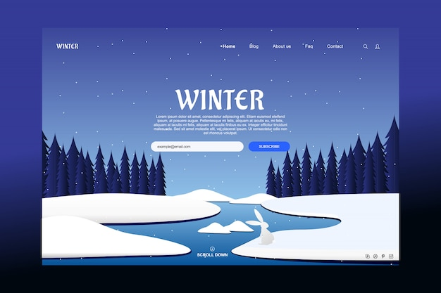 Landing page template design in winter season concept