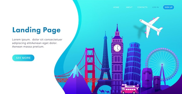 Landing page template design with famous landmarks in modern gradient style