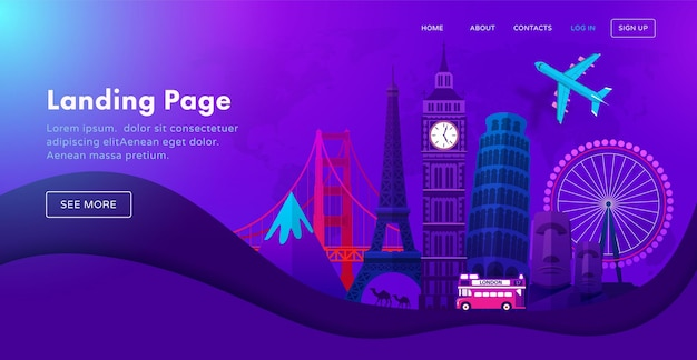 Landing page template design with famous landmarks in modern neon night style