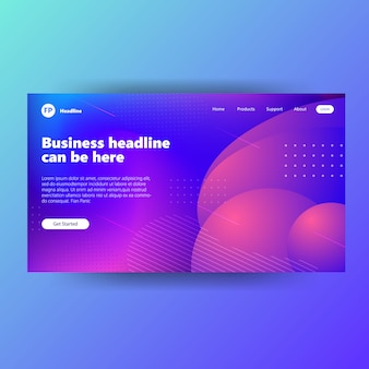 Landing page template design with gradient style