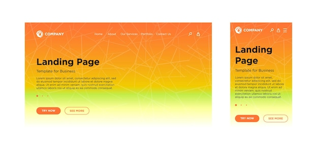 Шаблон целевой страницы для настольного пк и мобильной адаптивной версии с минимальным геометрическим эффектом выцветания