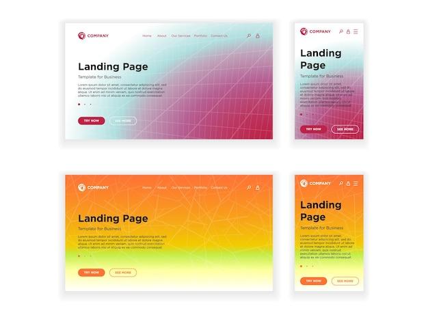 랜딩 페이지 템플릿 데스크탑 pc 및 모바일 적응형 버전은 최소한의 기하학적 페이딩 효과를 설정합니다.