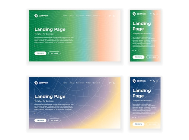 Landing page template desktop pc and mobile adaptive version set minimal geometric fading effect