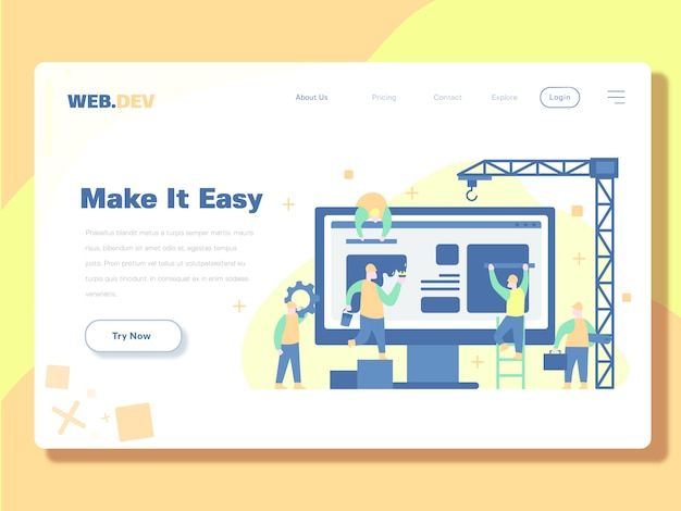 Landing page template, developer and maintenance web vector illustration