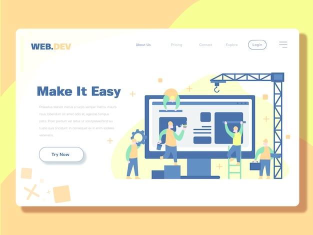 Landing page template, developer and maintenance web vector illustration