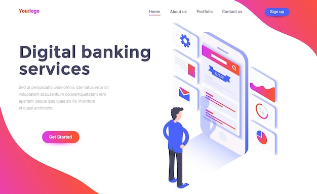 Landing page template of digital banking service in isometry style