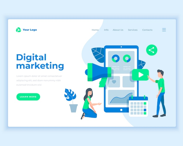 Landing page template digital marketing concept with office people.