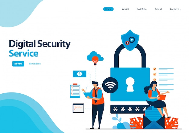 Landing page template of digital security service to protect access and use of digital facilities. multiple security with a password.