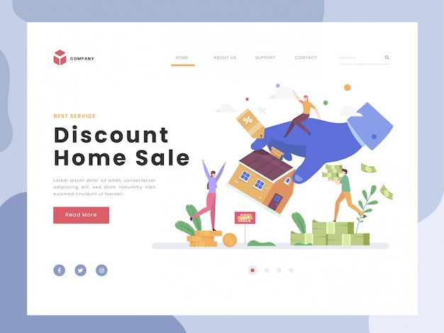 Landing page template, discount home, flat tiny buying family house for sale or rent. symbolic sales agent at big hand. real estate modern property. flat style