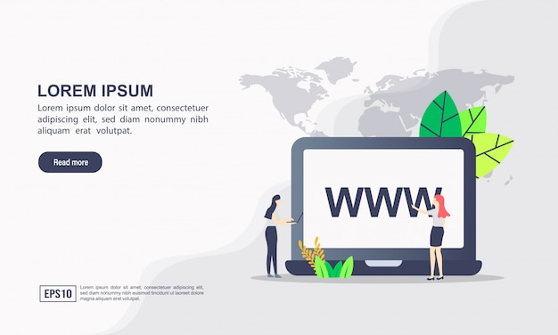 Landing page template. domain illustration concept with character.