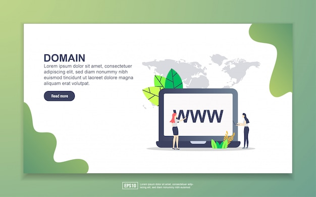 Landing page template of domain. modern flat design concept of web page design for website and mobile website.
