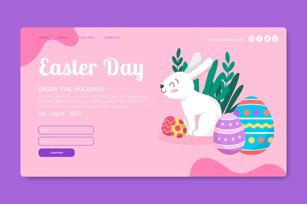 Landing page template for easter with bunny and eggs