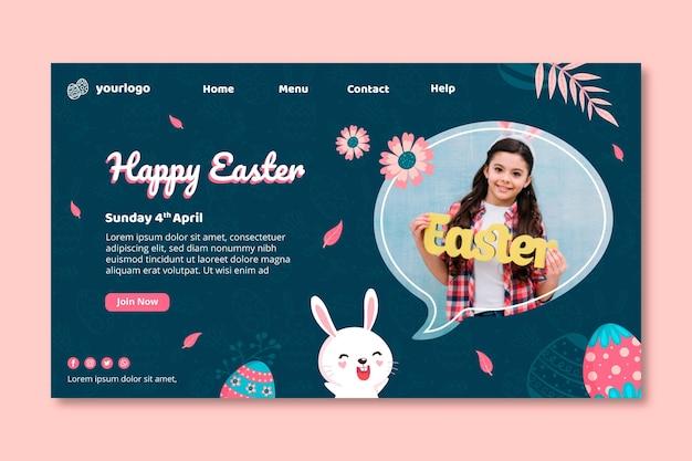 Modello di pagina di destinazione per pasqua con coniglietto e ragazza