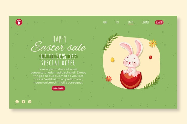 Modello di pagina di destinazione per pasqua con coniglietto Vettore gratuito