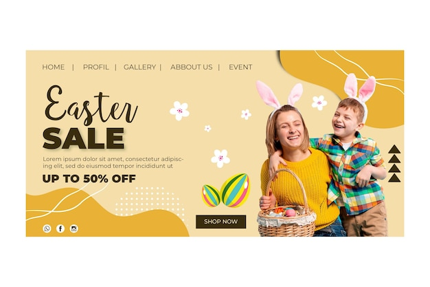 Landing page template for easter with mother and son