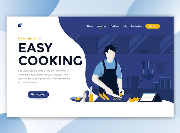 Landing page template of easy cooking
