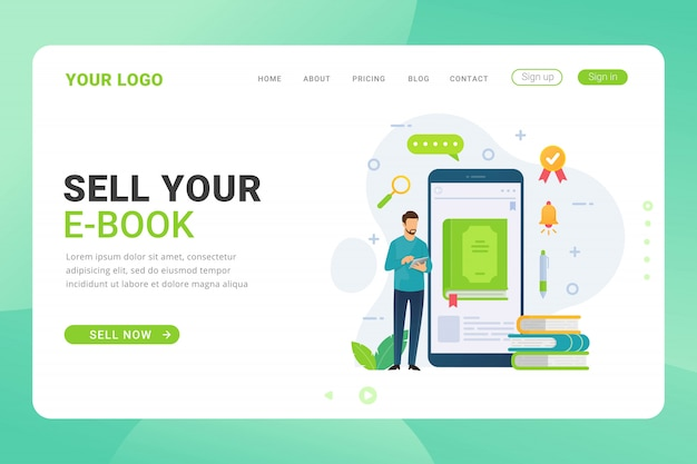 Landing page template ebook shop design with illustration