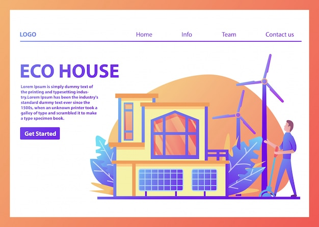 Landing page template for eco house