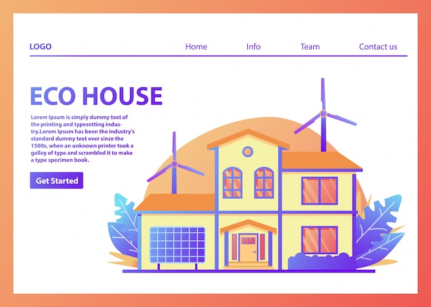 Landing page template for eco houses