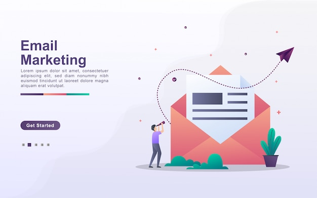Landing page template of email marketing in gradient effect style
