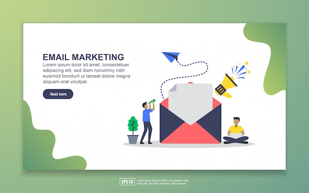 Landing page template of email marketing. modern flat design concept of web page design for website and mobile website
