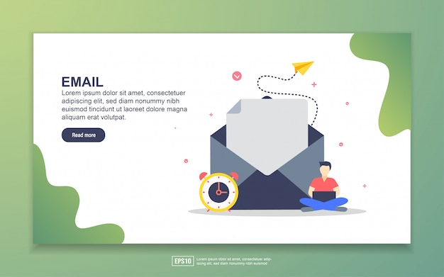Landing page template of email