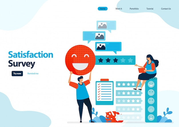 Landing page template of emoticon satisfaction surveys. feedback rating and stars for apps services.