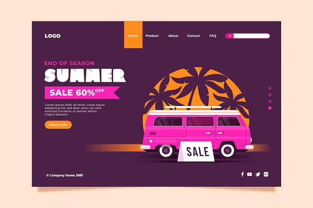 Landing page template end of season summer sale